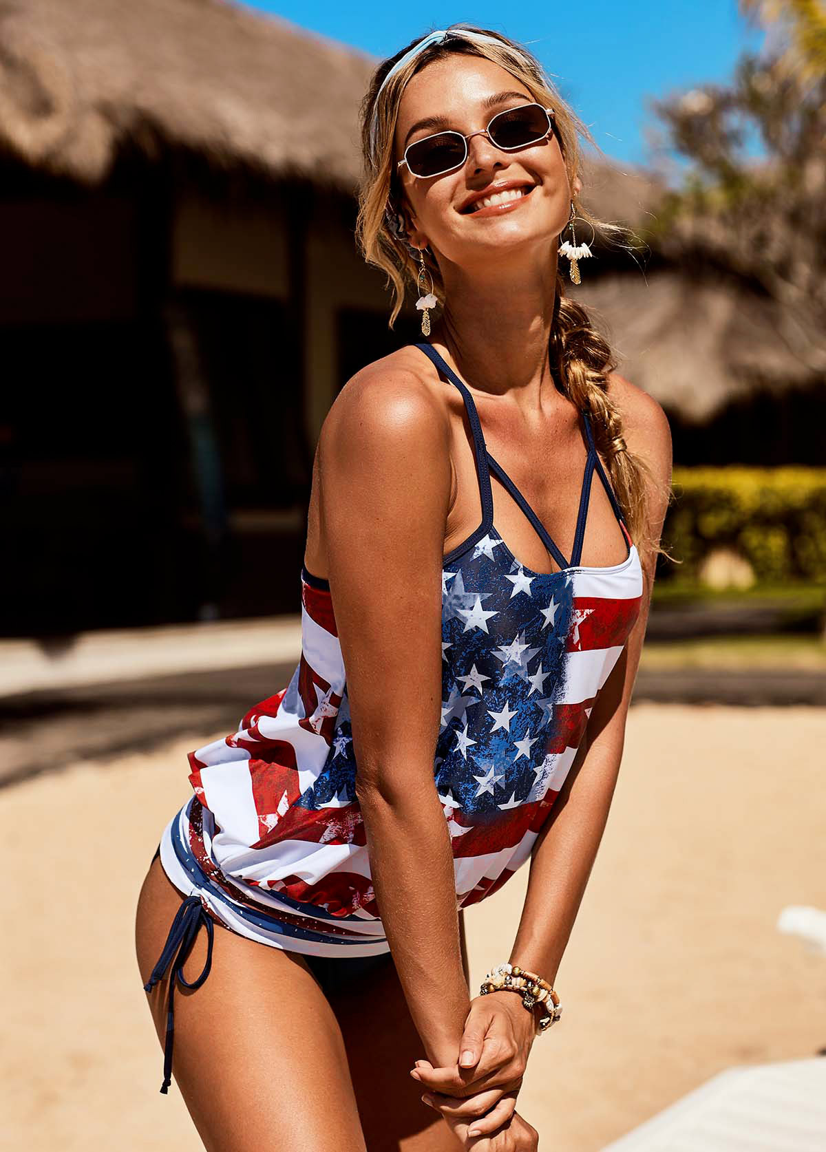 Side Drawstring American Flag Print Cutout Front Tankini Set