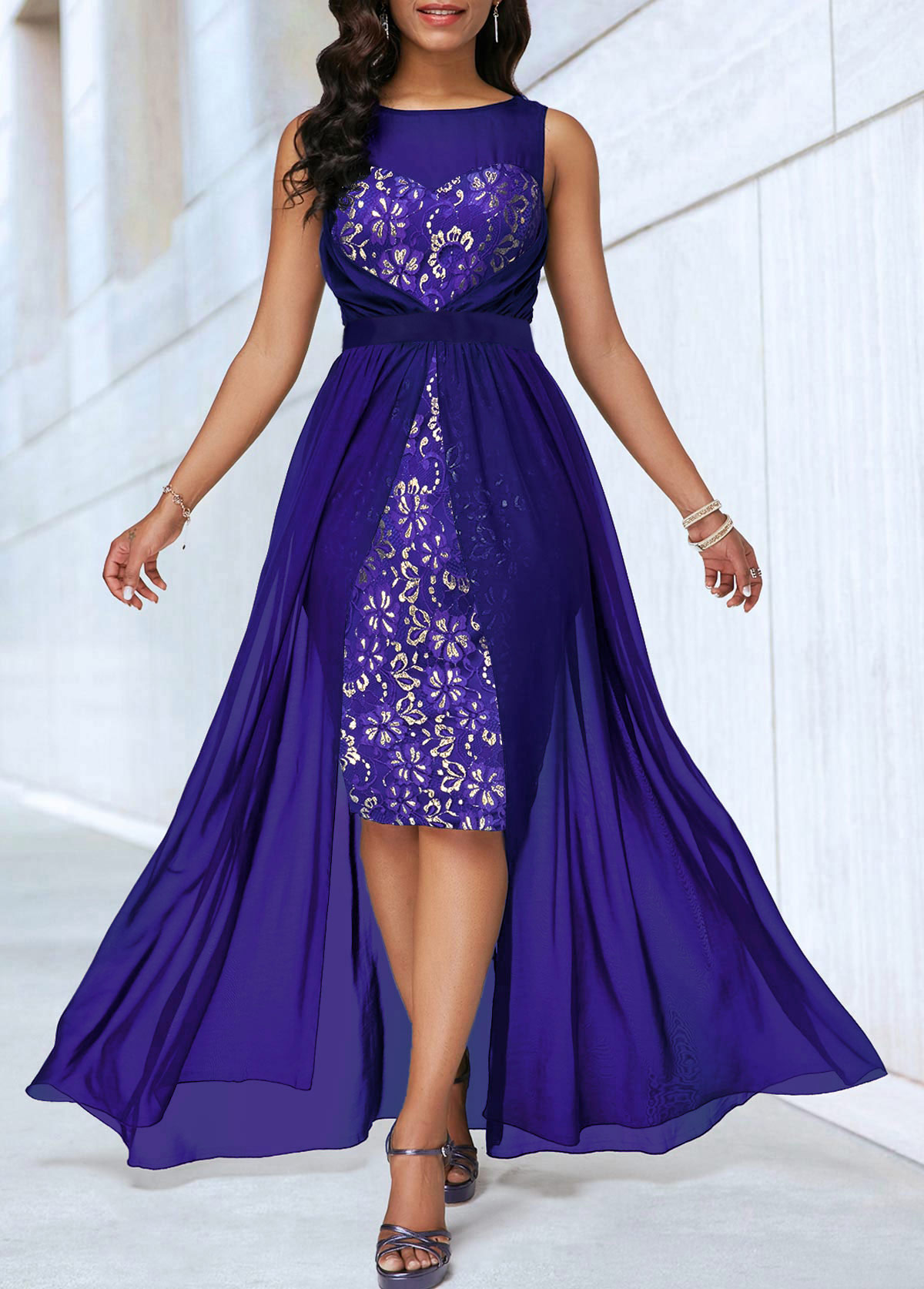 Sleeveless Dip Hem Lace Panel Dress
