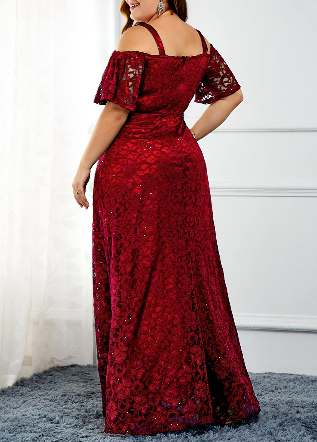 Plus Size Sequin Embellished Cold Shoulder Lace Dress