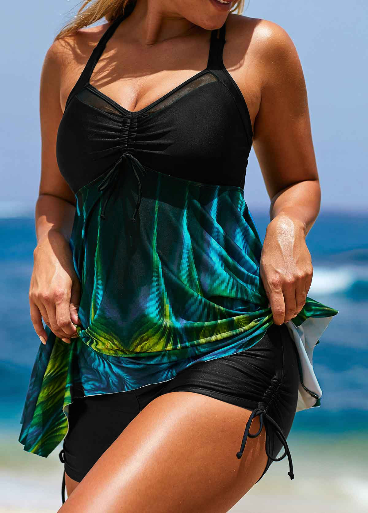 Printed Black Asymmetric Hem Tankini Top and Short