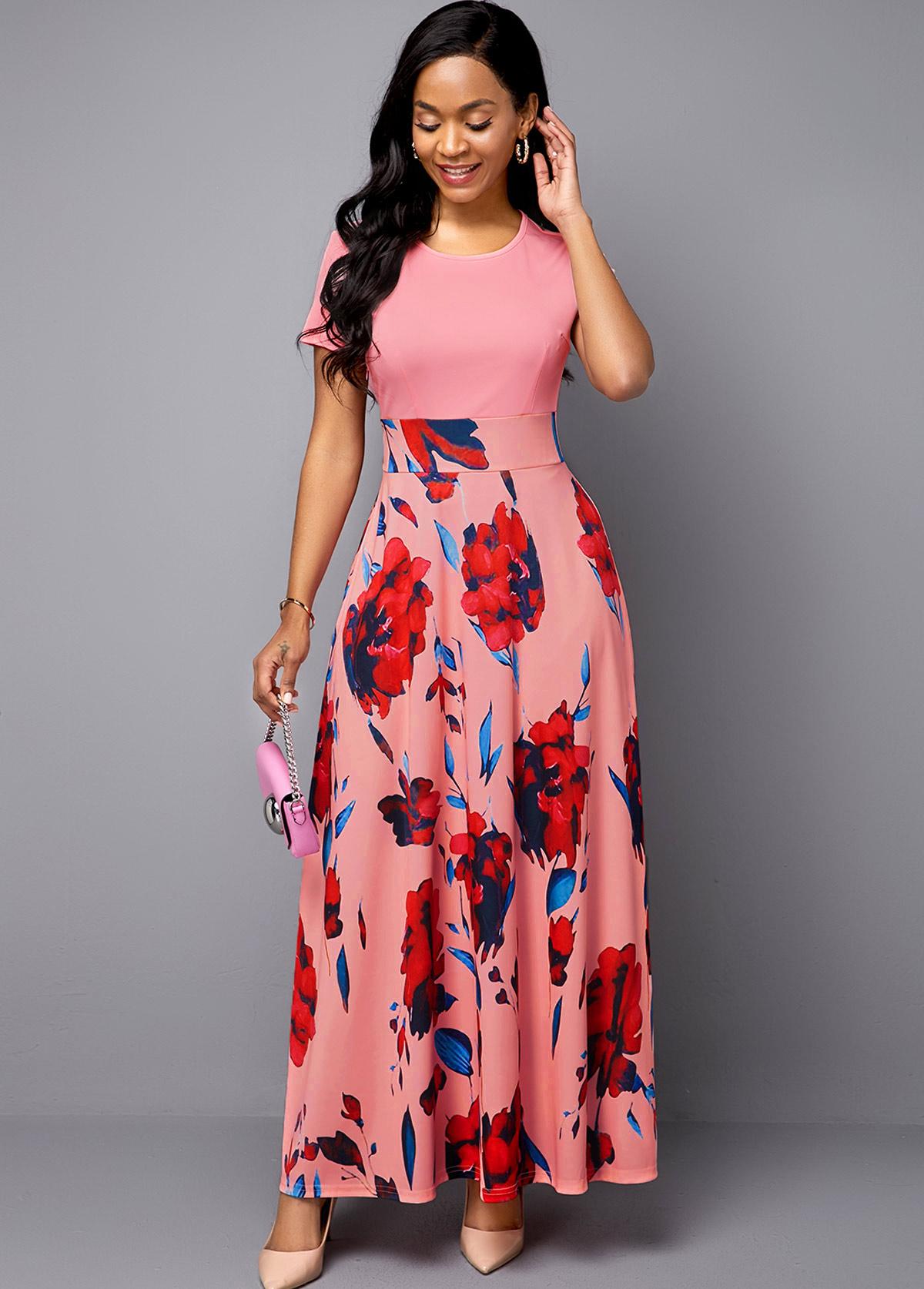 Short Sleeve Flower Print Pink Midi Dress
