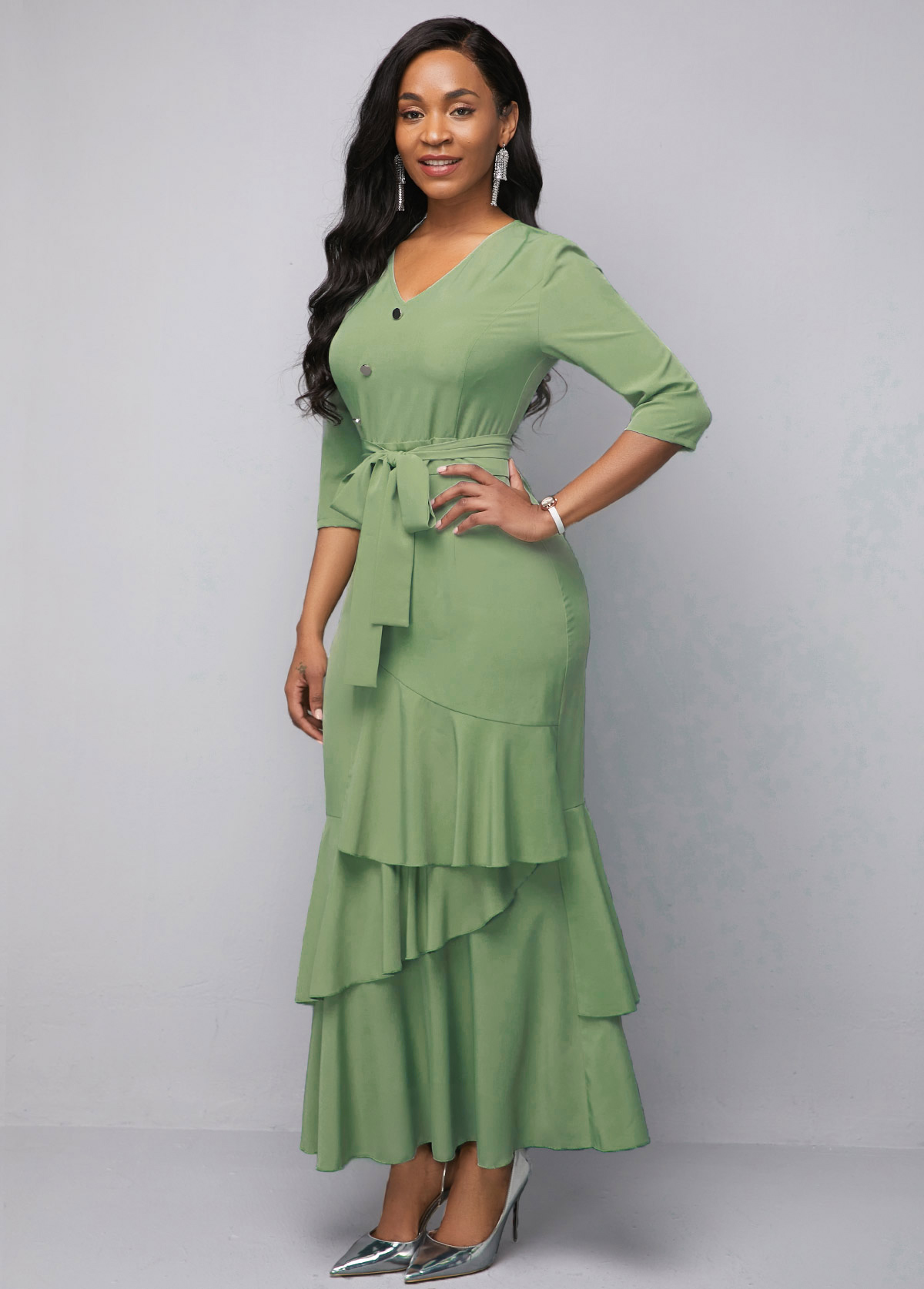 Sage Green Button Detail V Neck Ruffle Hem Chiffon Dress