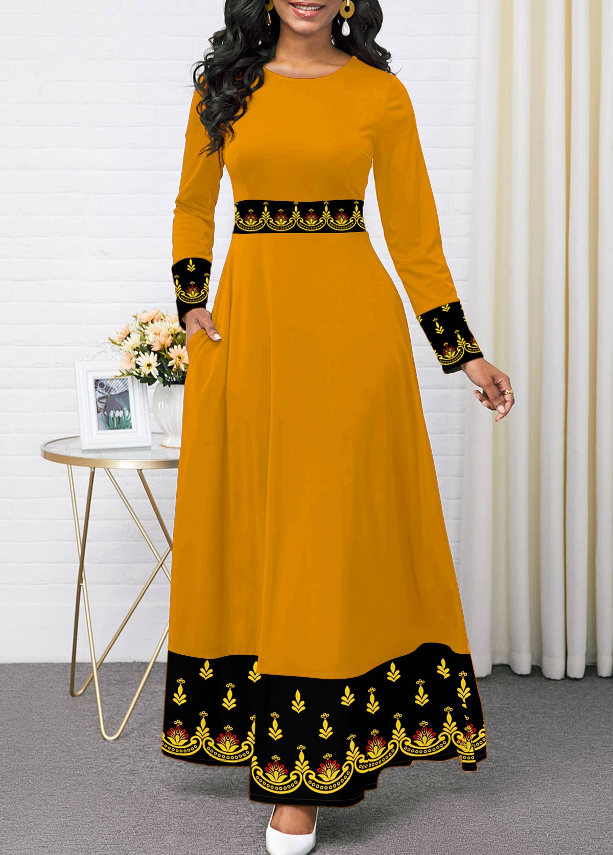 Printed Round Neck Long Sleeve Dress
