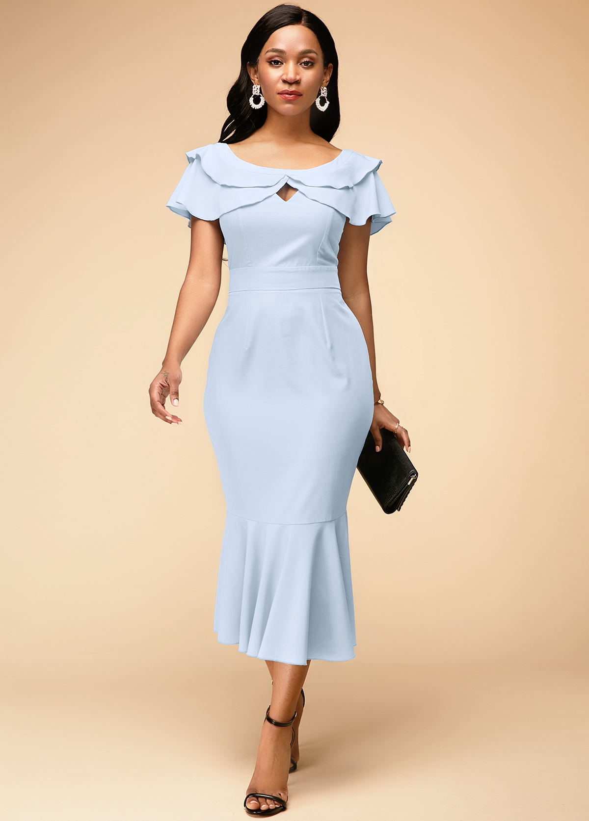 Keyhole Neckline Ruffle Hem Light Blue Dress
