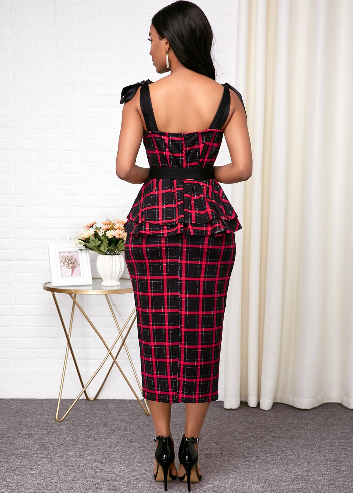 Bowknot Belted Red Plaid Print Dress