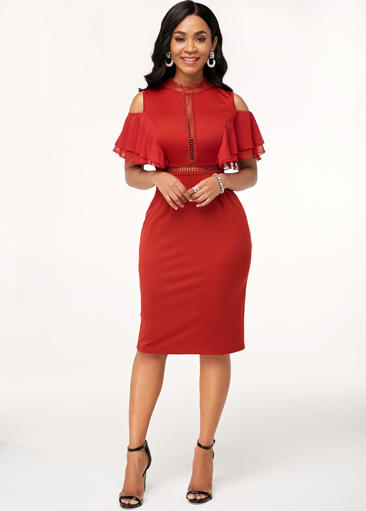 Ruffle Decorated Wine Red Cold Shoulder Dress