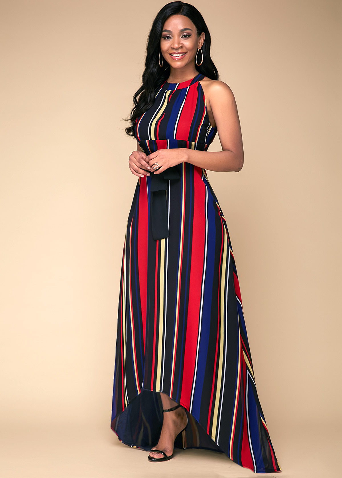High Waist Multi Stripe Printed Dress