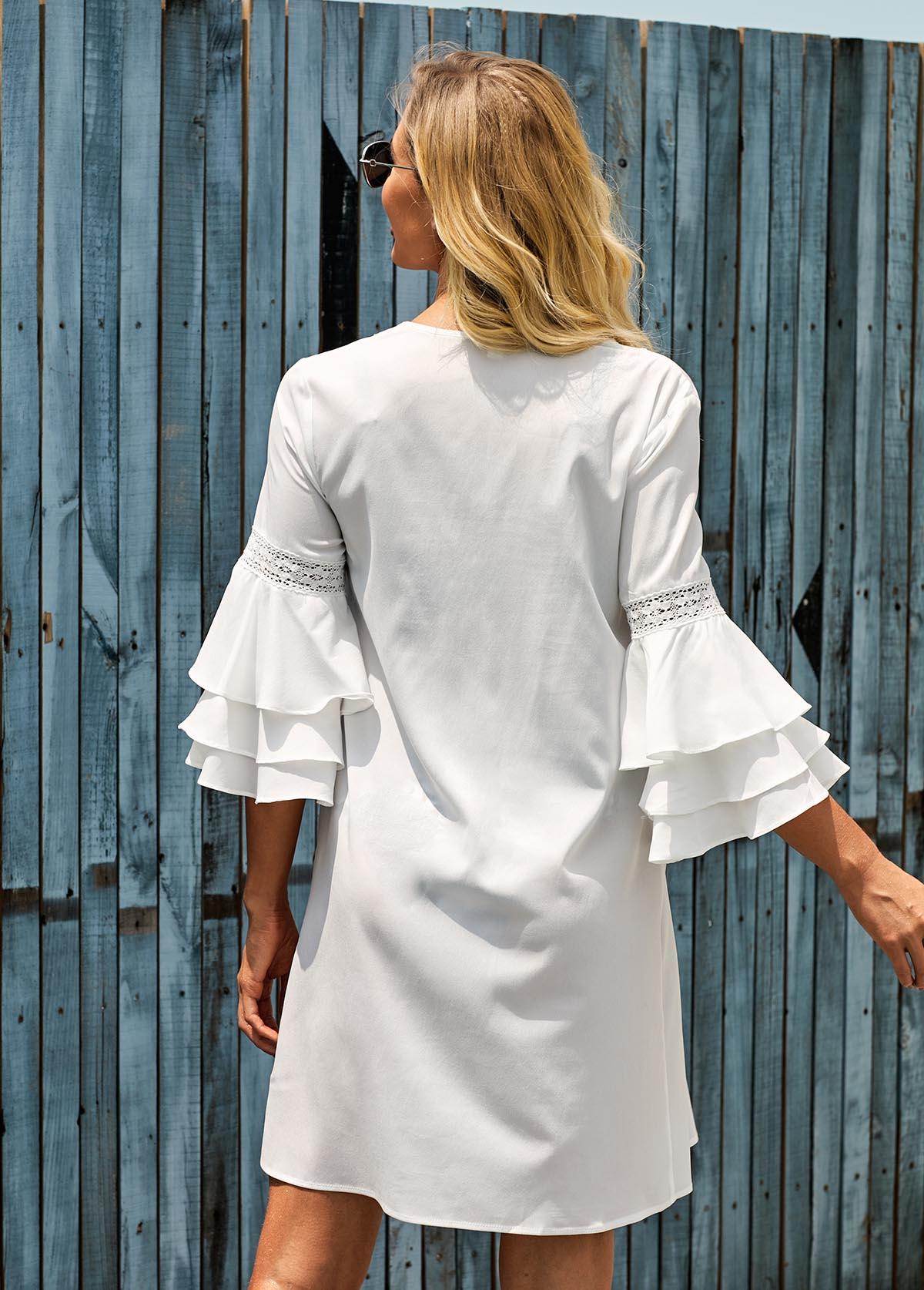 V Neck Flare Sleeve White Cover Up