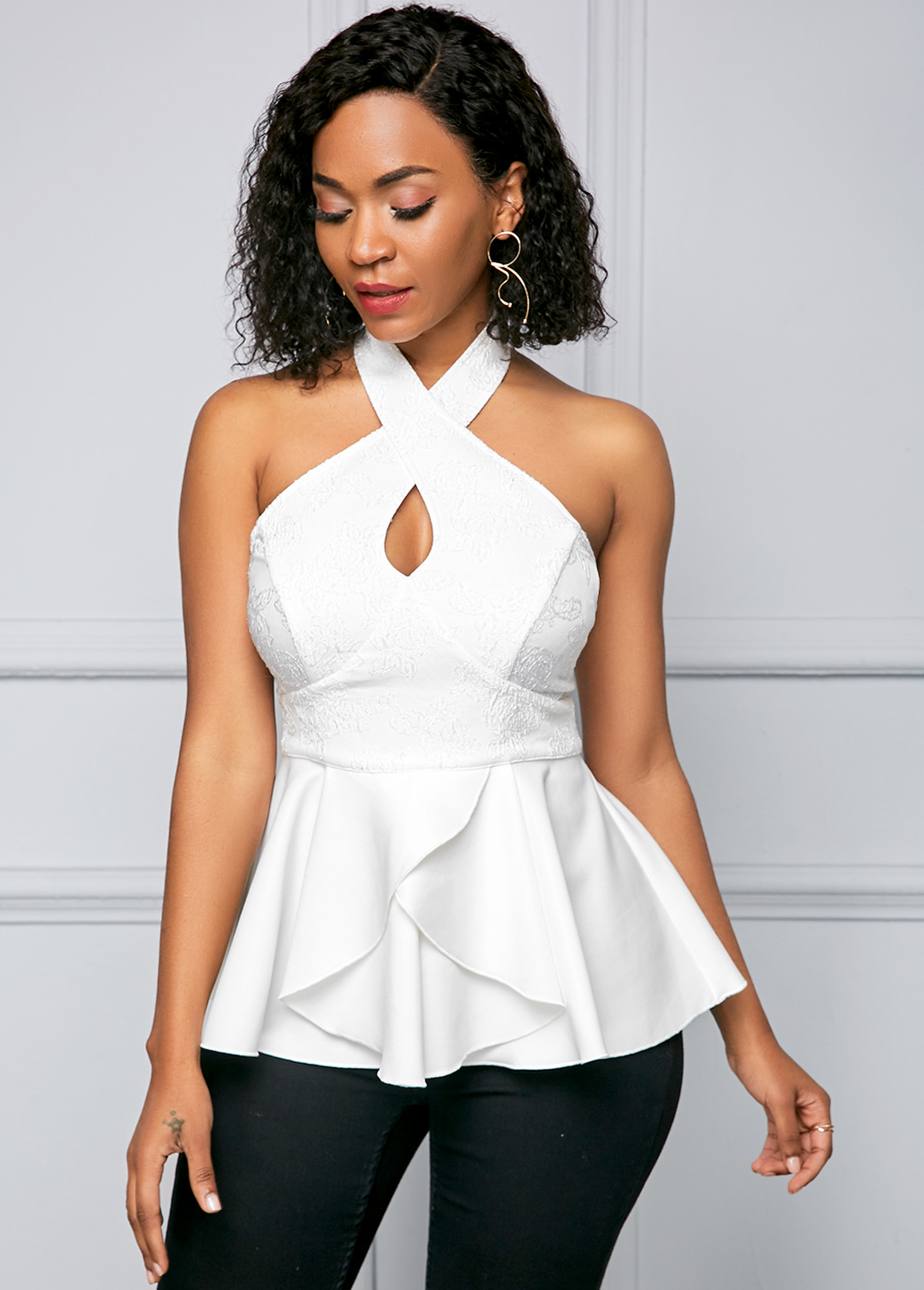 Ruffle Hem Criss Cross Neck White T Shirt