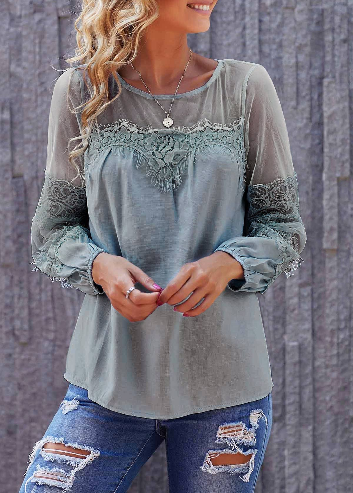 Light Blue Round Neck Long Sleeve Lace Panel Blouse