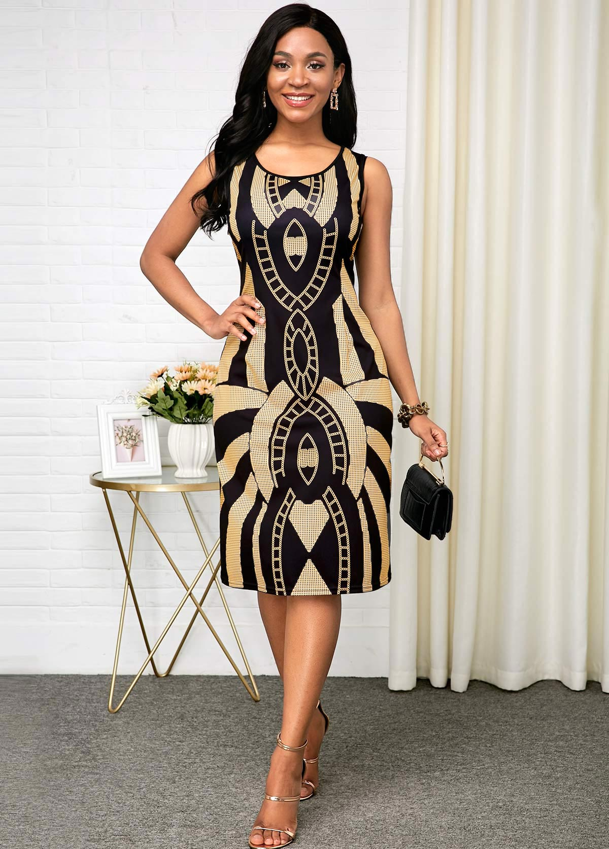Round Neck Tribal Print Sleeveless Black Dress