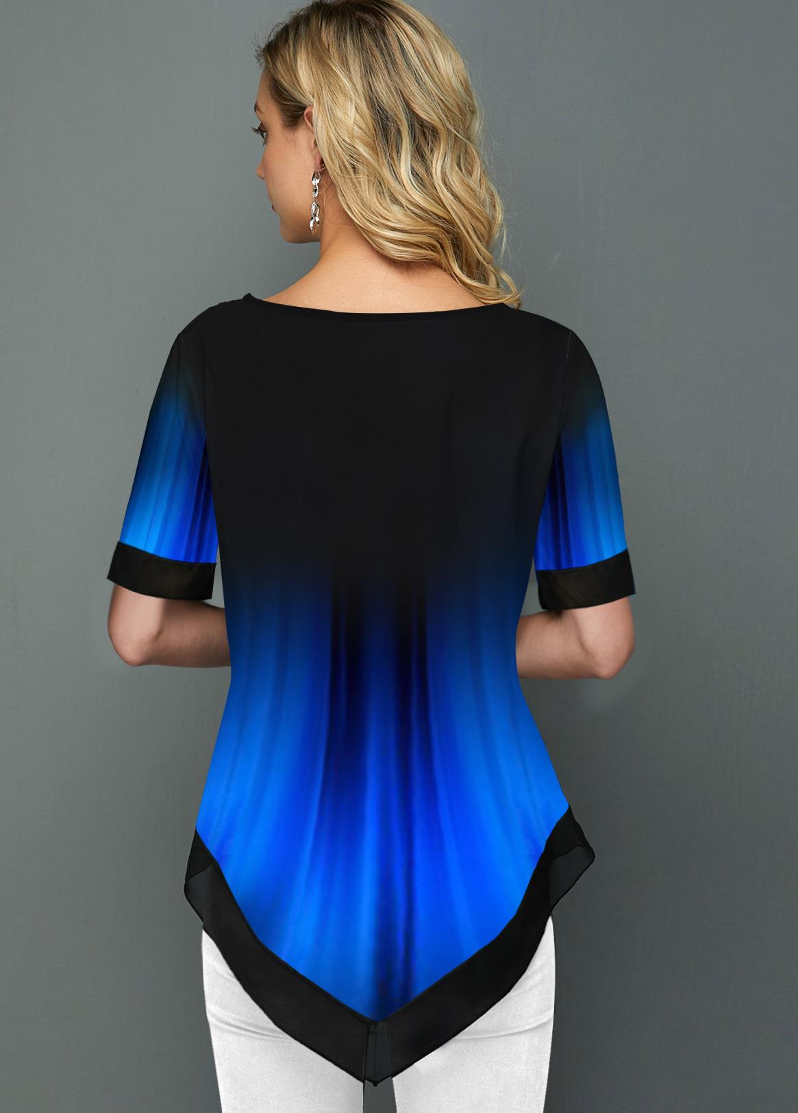 Split Neck Short Sleeve Printed Blouse