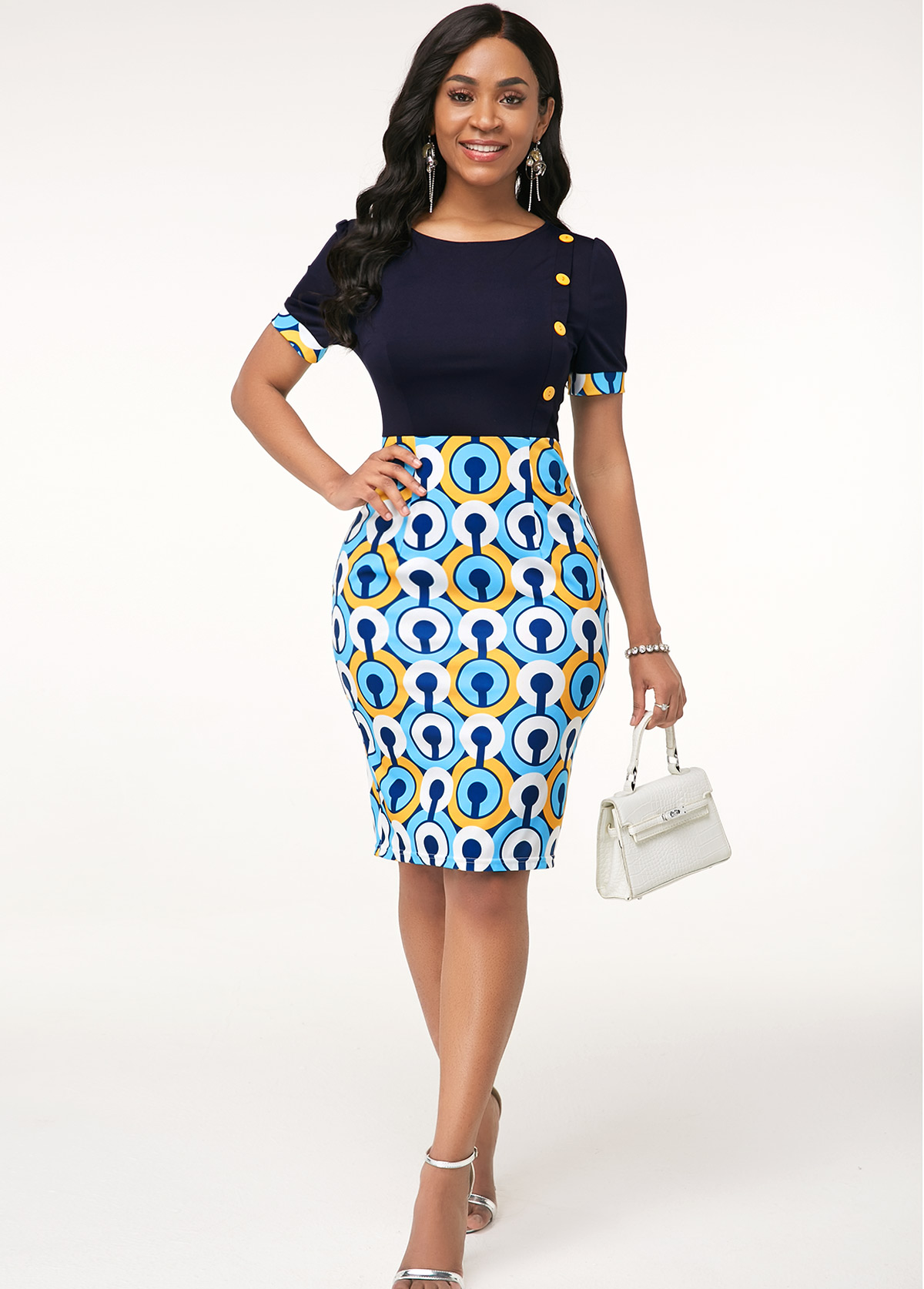 Round Neck Printed Button Detail Dress