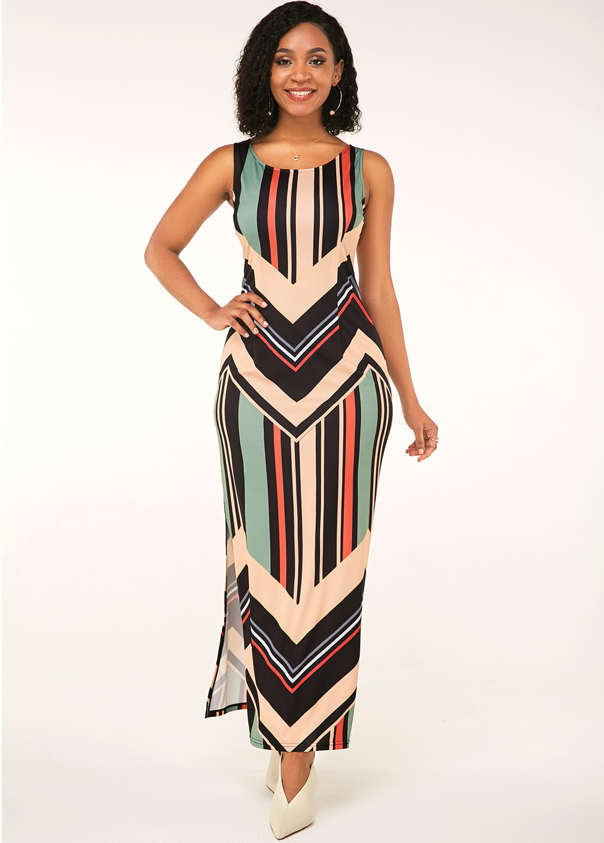 Round Neck Sleeveless Stripe Print Dress