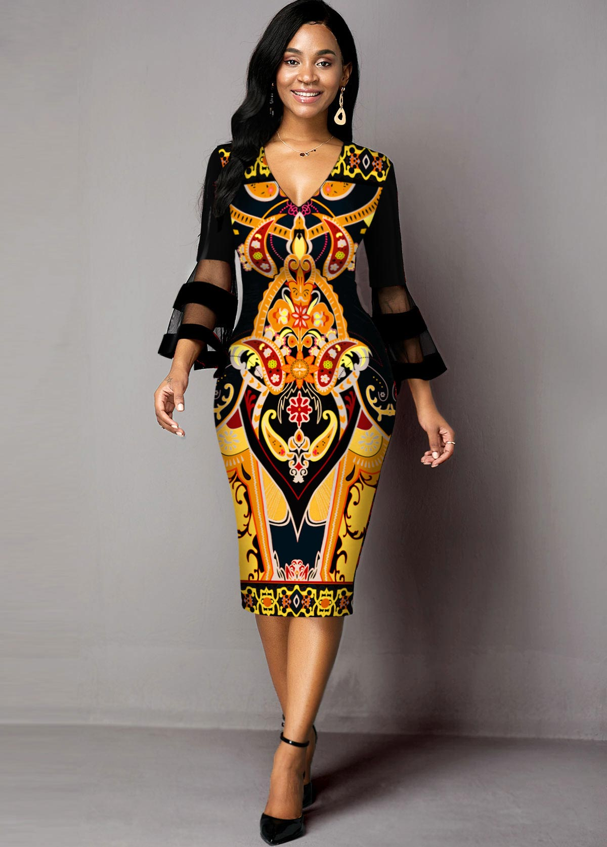 V Neck Mesh Panel Tribal Print Dress