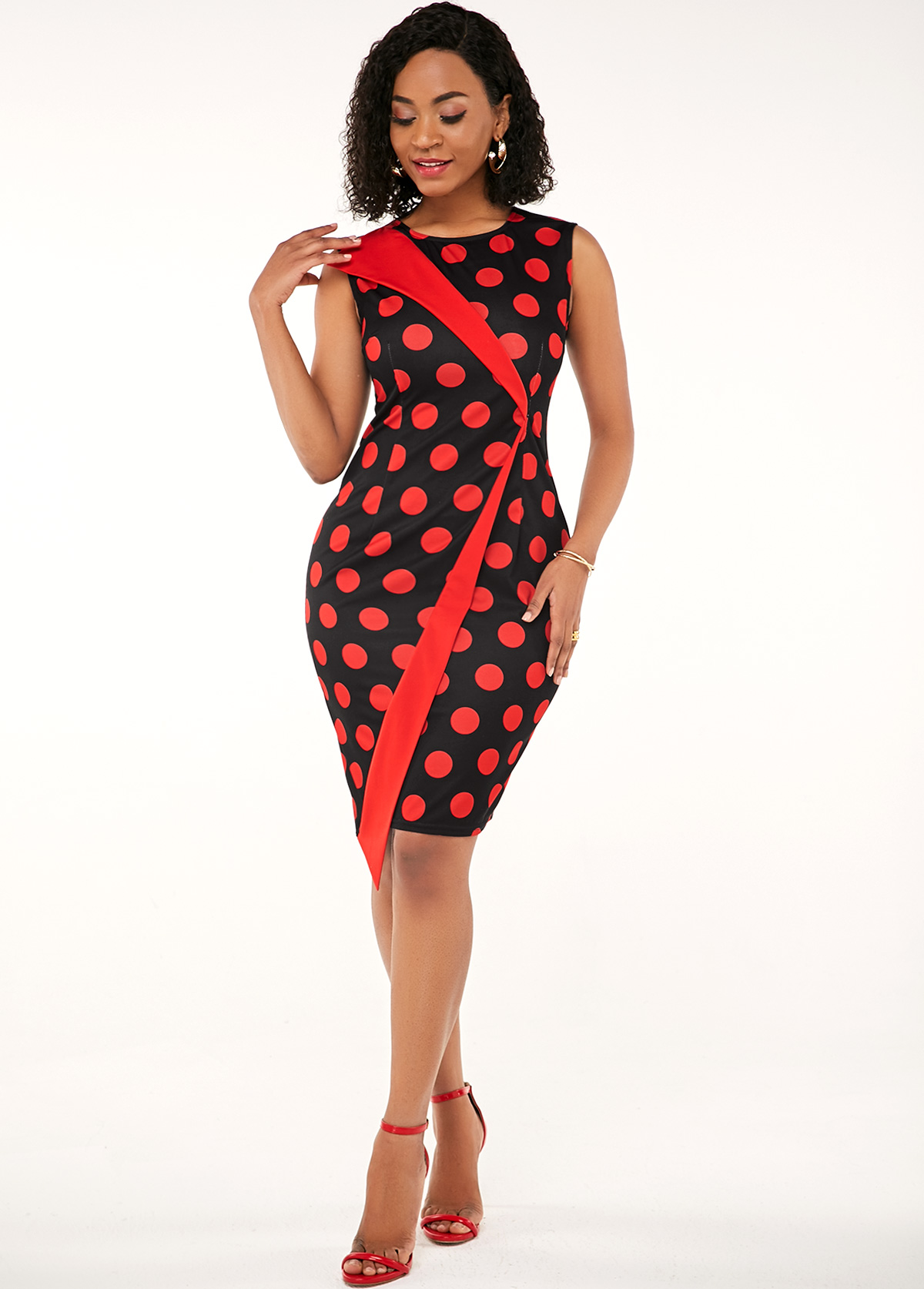 Round Neck Polka Dot Sleeveless Asymmetric Dress