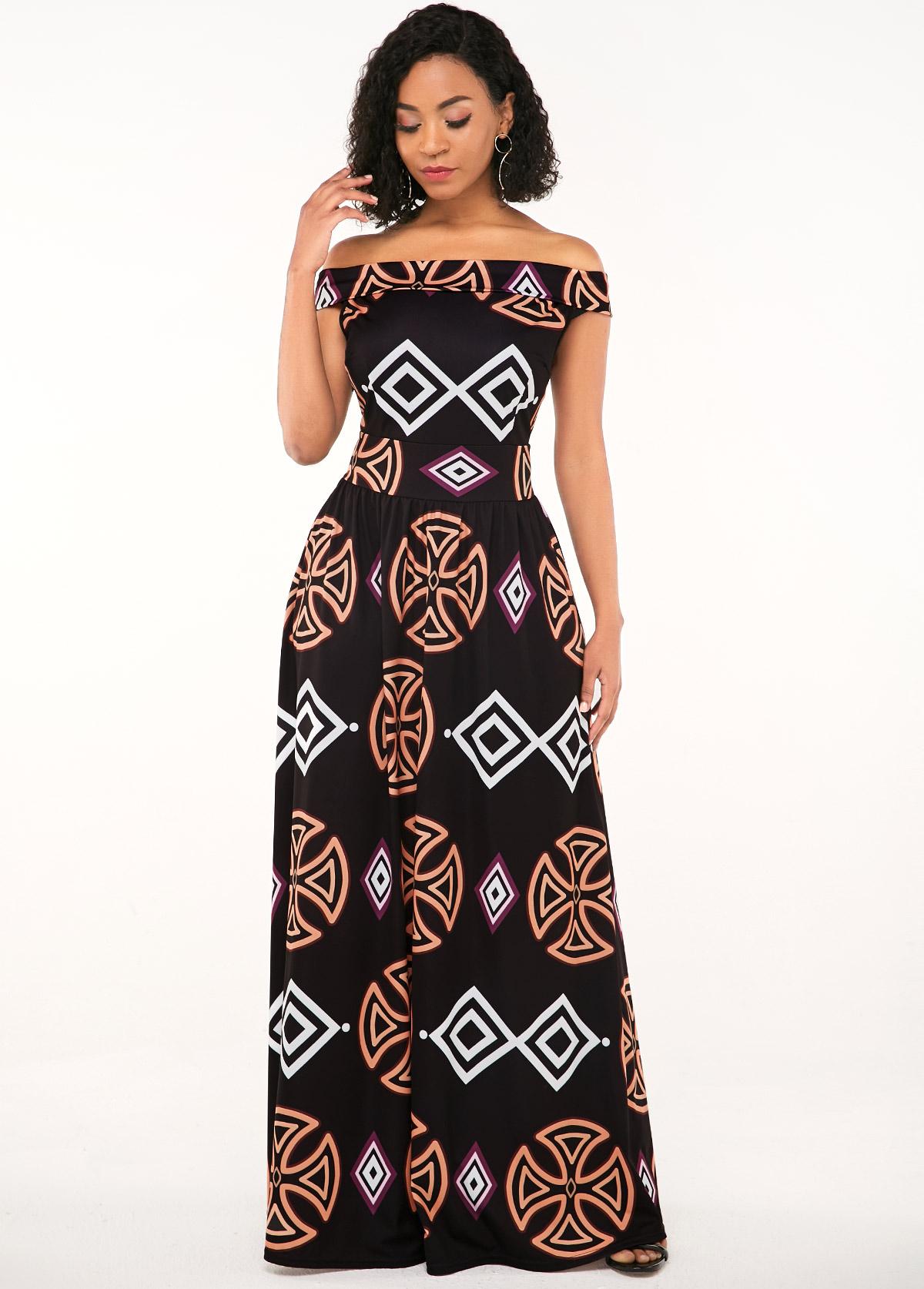 Zipper Closure African Print Off the Shoulder Dress