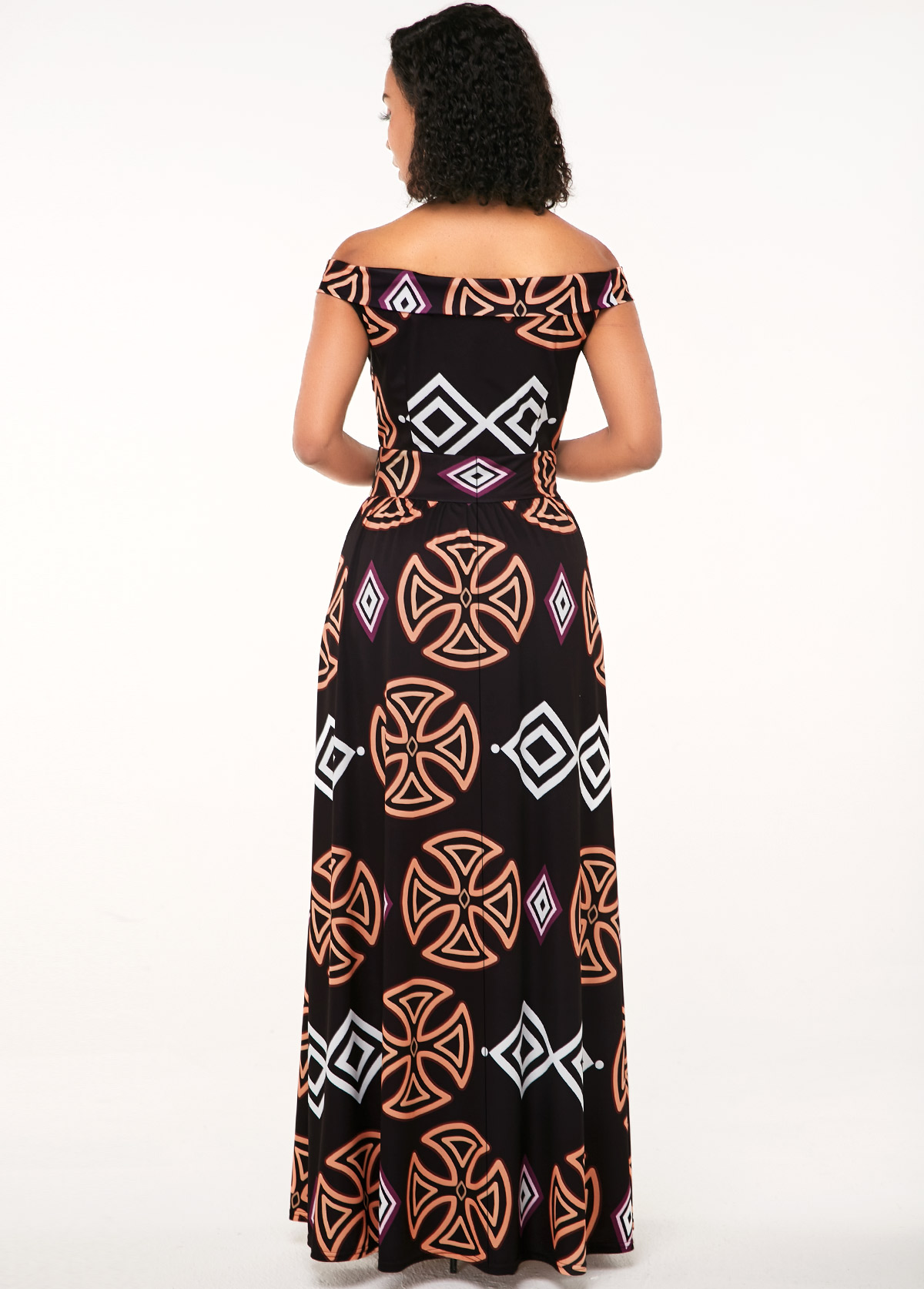 Zipper Closure African Print Off the Shoulder Dress