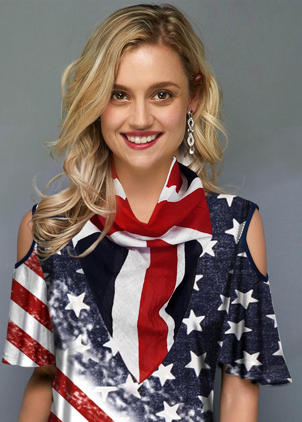 Color Block American Flag Print Beach Scarve