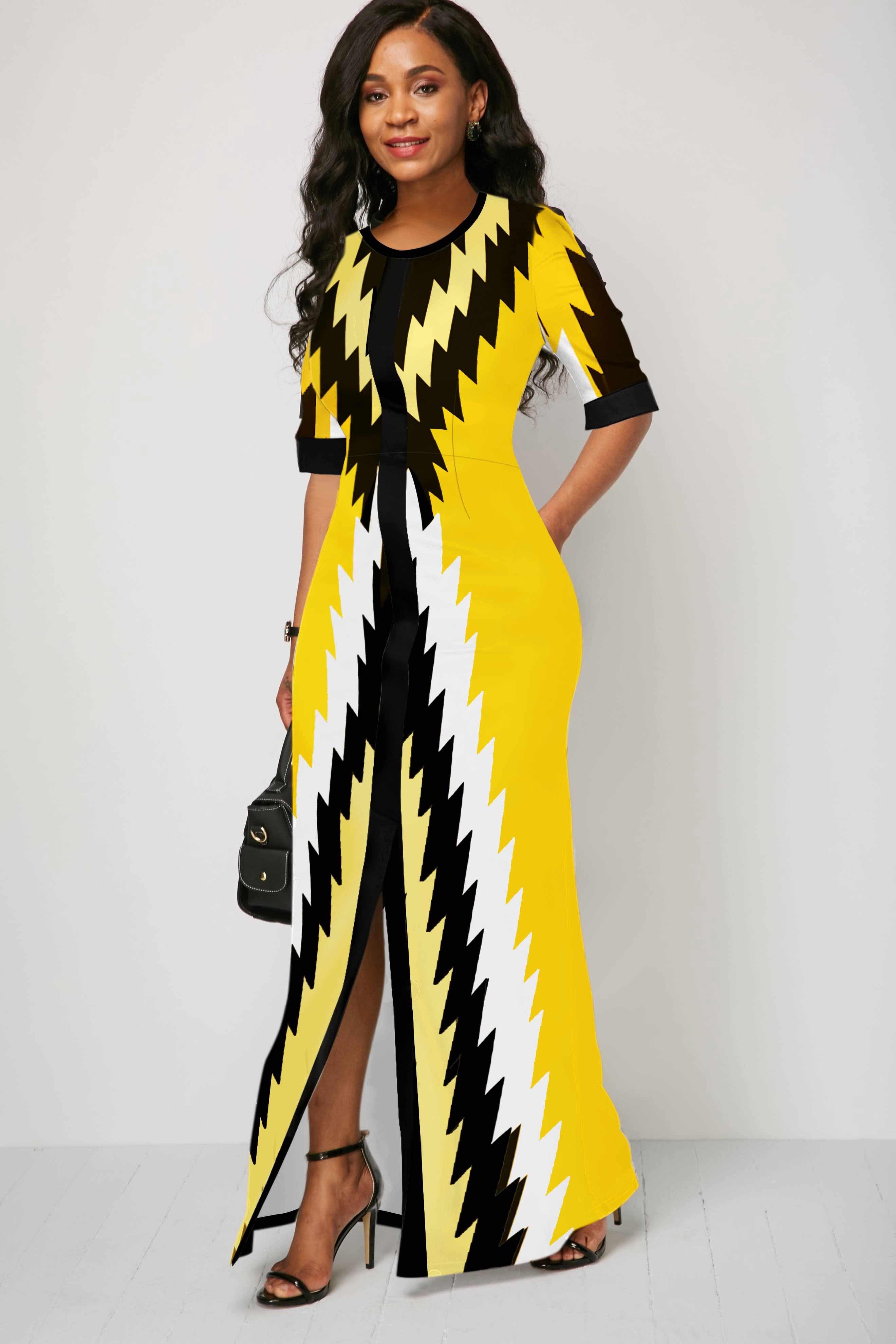 Round Neck Geometric Print Half Sleeve Maxi Dress