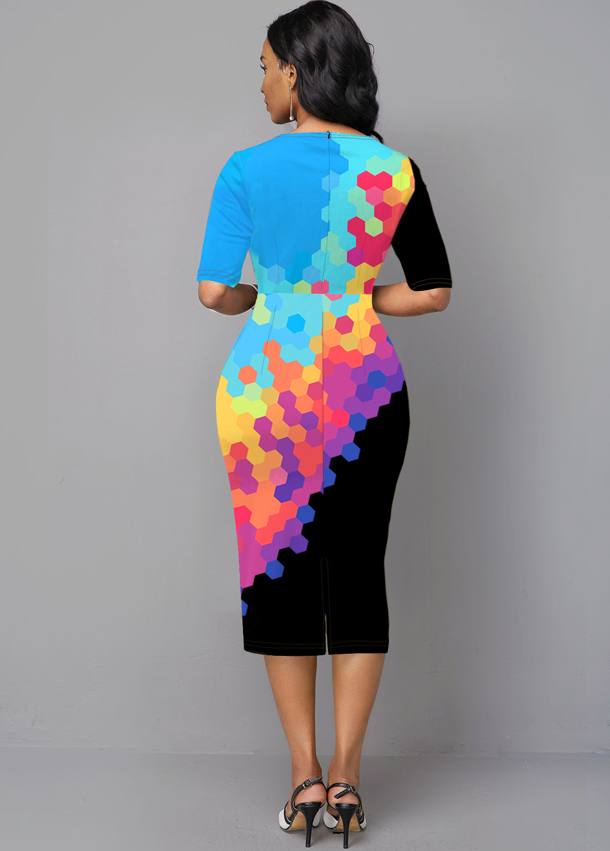 Rainbow Color Half Sleeve Gradient Printed Boat Neck Dress