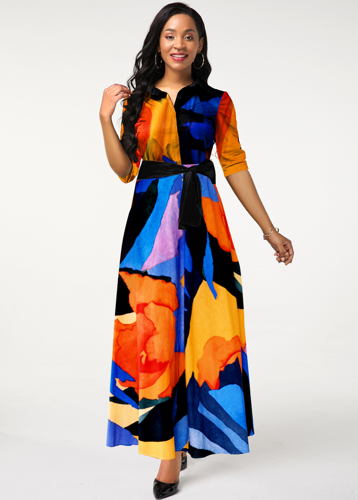 Belted Multi Color Turndown Collar Dress