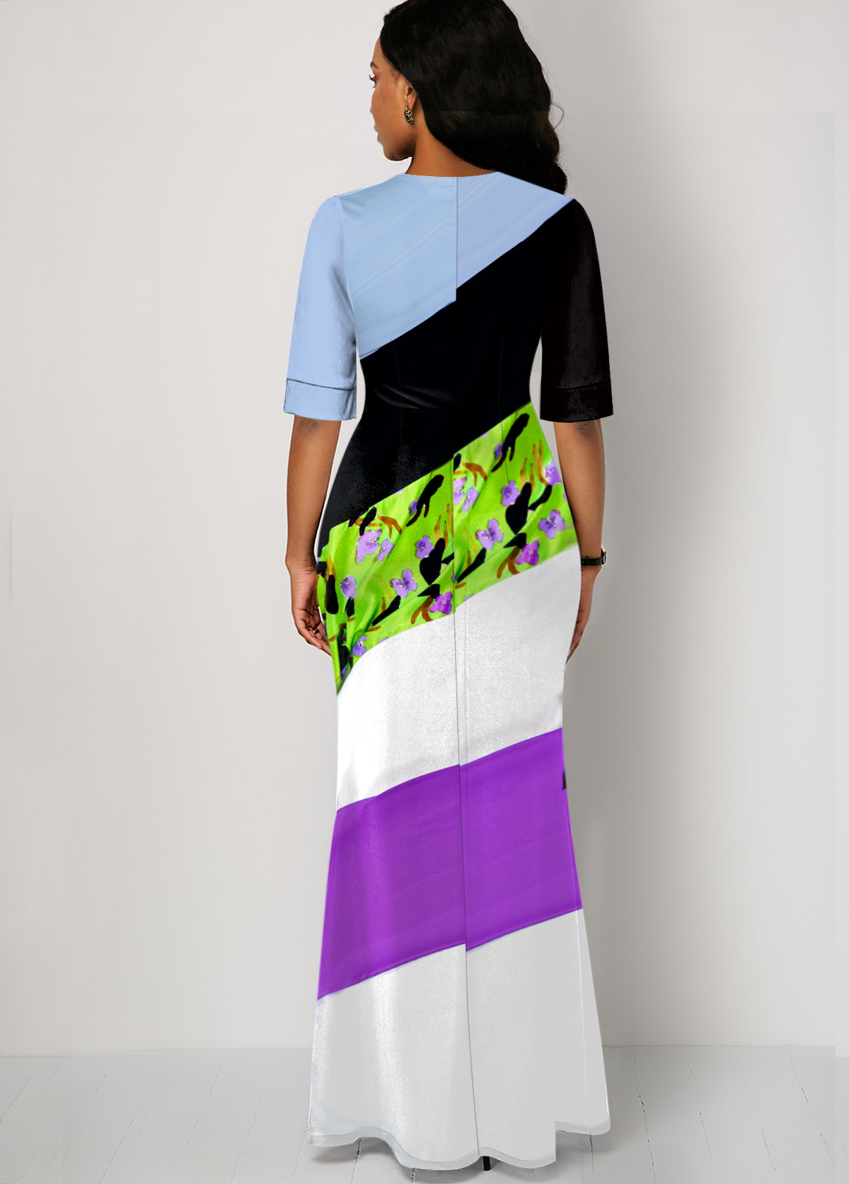 Multi Color Striped Half Sleeve Maxi Dress