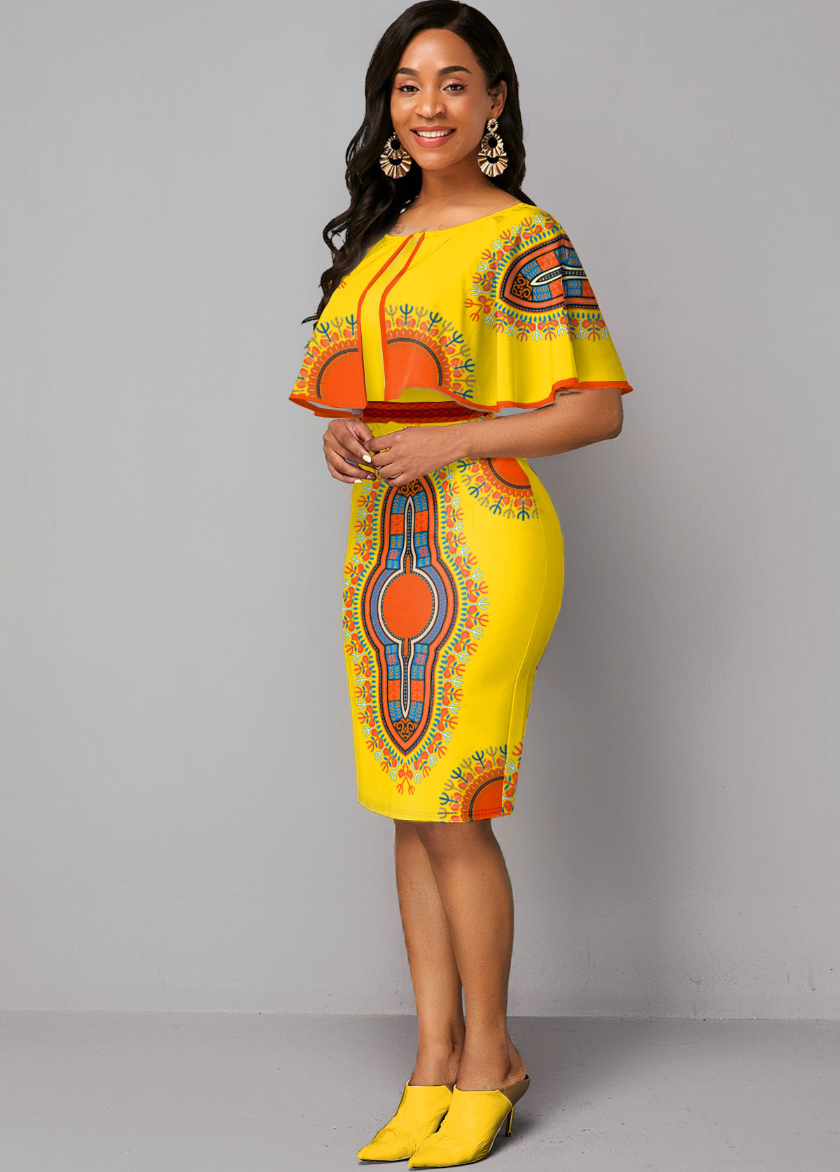 Zipper Closure Cape Sleeve Dashiki Print Dress