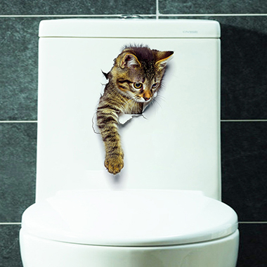 Multi Color 3D Cat Design Sticker