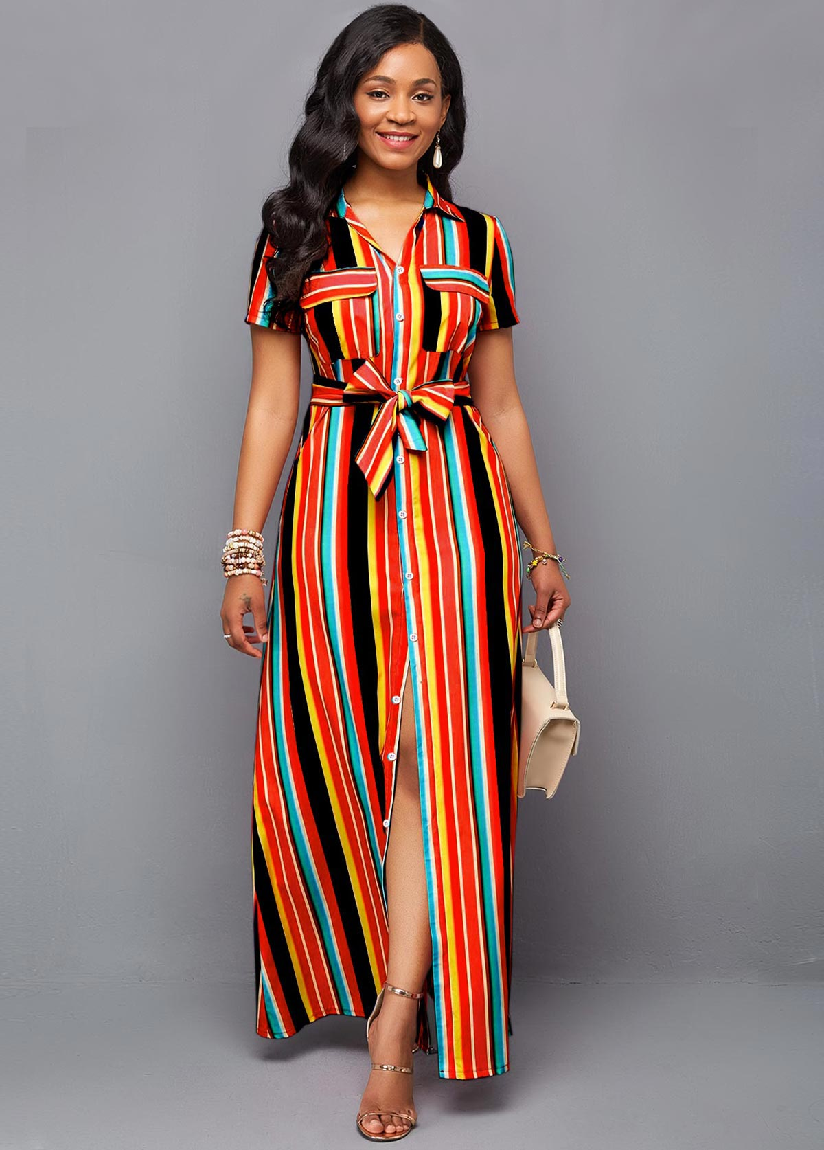 Rainbow Color Belted Stripe Print Maxi Dress