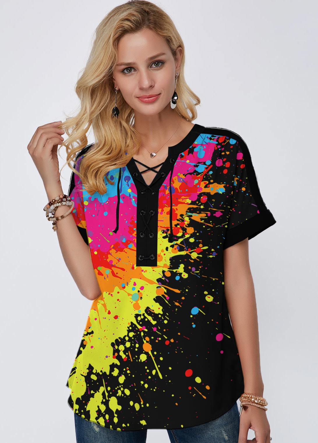 Printed Split Neck Short Sleeve Rainbow Color Blouse