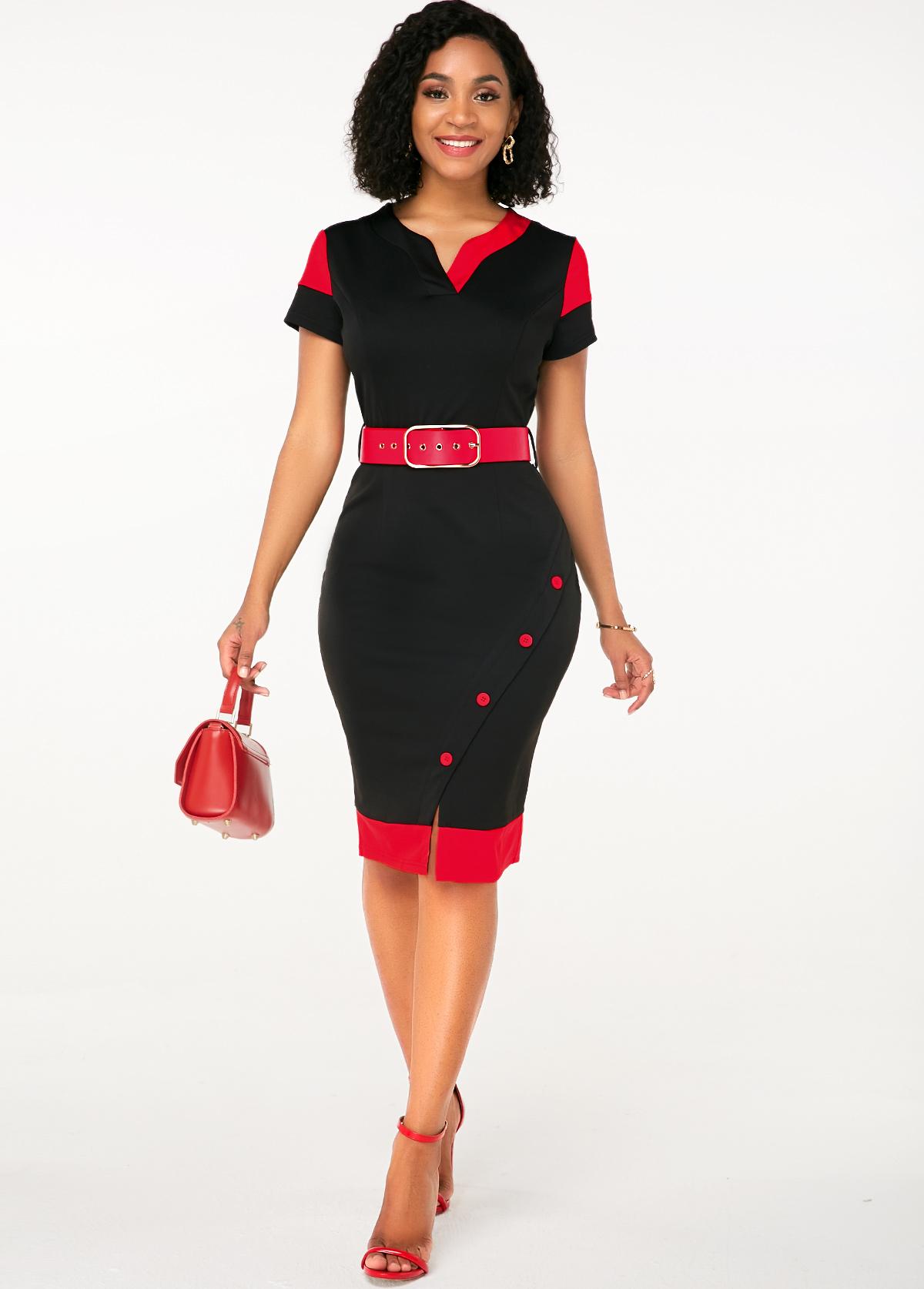 Split Neck Button Detail Belted Dress