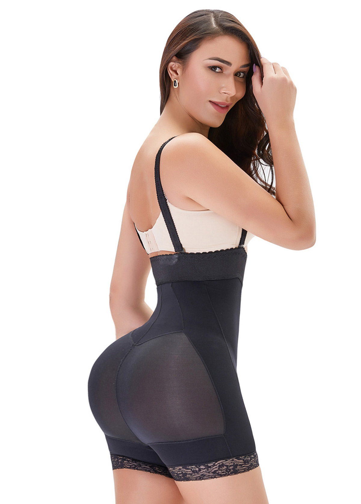 Straps Black Zipper Closure Shapewear Bodysuit