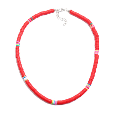 Red 1pc Ethnic Style Necklace for Lady