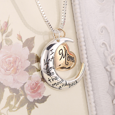 Moon and Heart Shape Letter Print Necklace