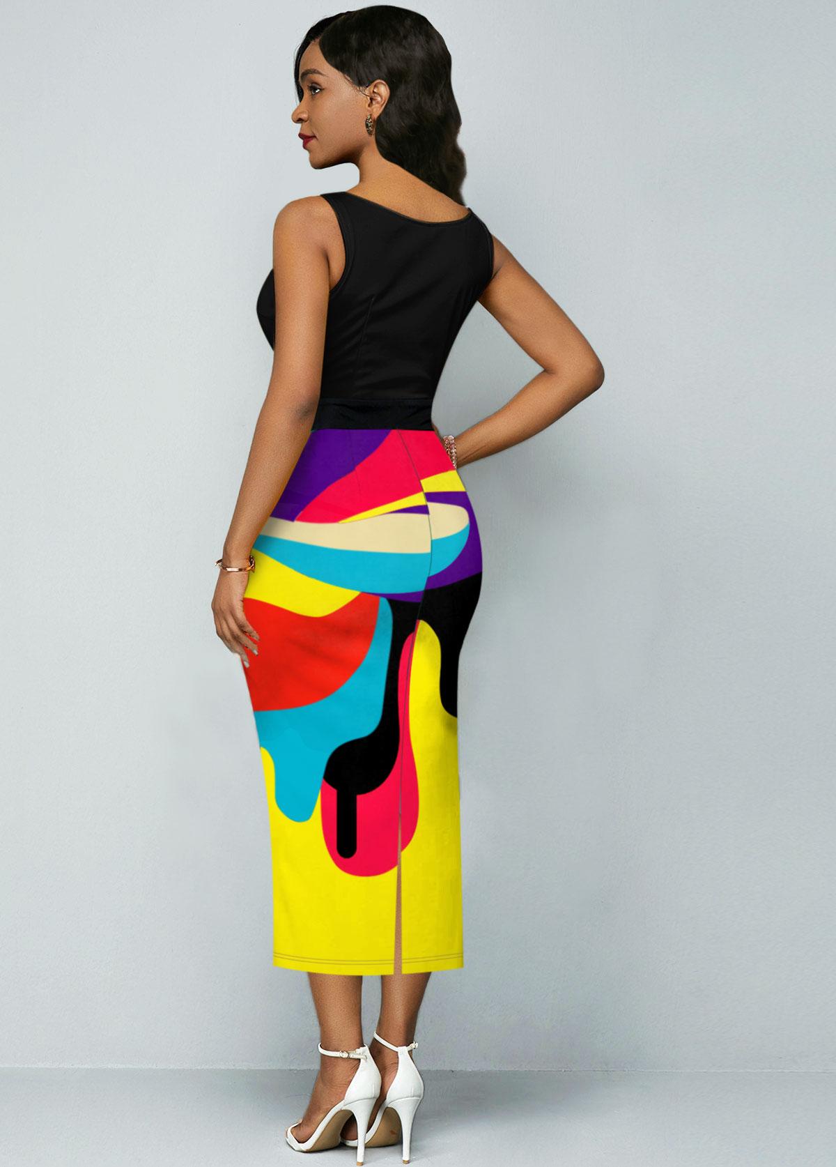 Sleeveless Rainbow Color Geometric Print Dress
