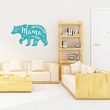 Blue 1sheet Bear and Letter Print Wall Stick