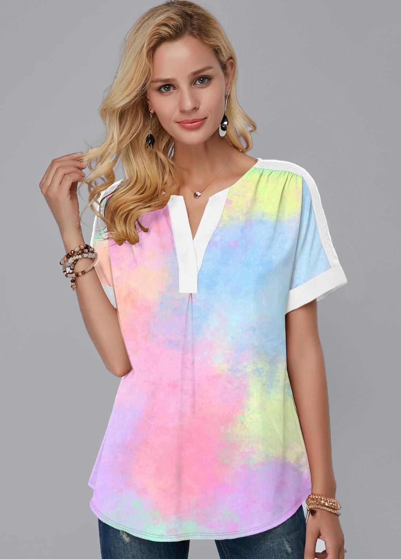 Multi Color Short Sleeve Split Neck Blouse