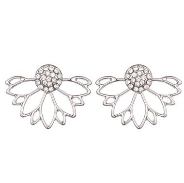 Elegant Lotus Shape Rhinestone Earrings for Lady