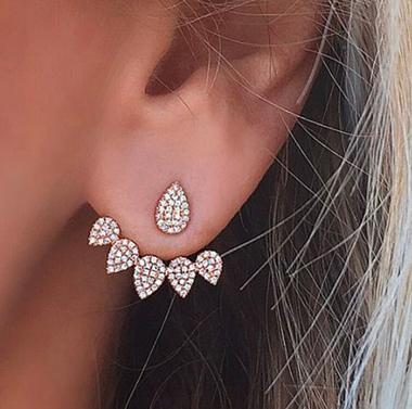 Gold Rhinestone Water Drops Shape Earrings