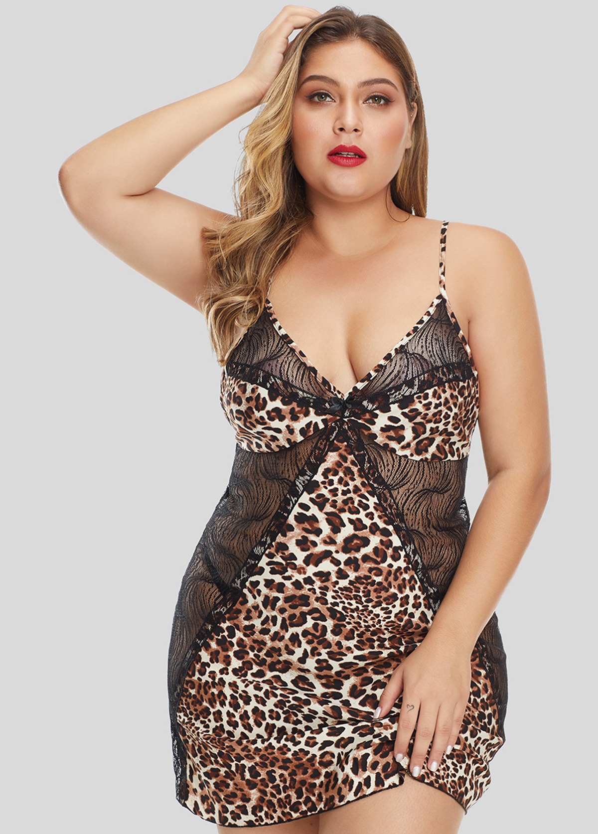 Spaghetti Strap Plus Size V Neck Camisole Top and Panty