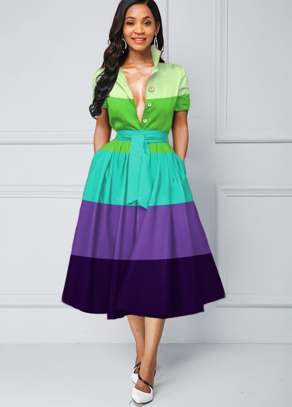 Button Detail Color Block Stripe Print Dress