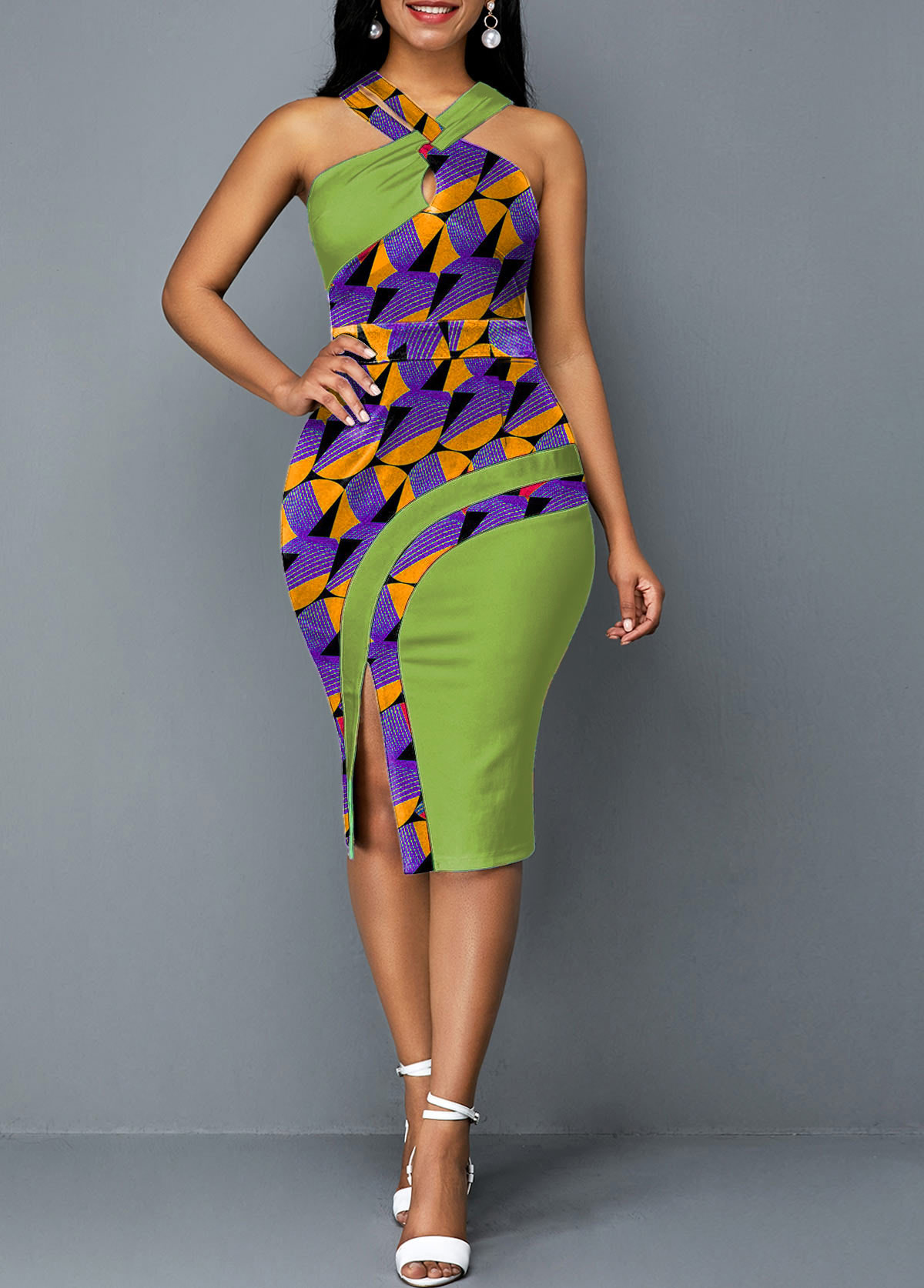 Cross Halter Printed Green Side Slit Dress