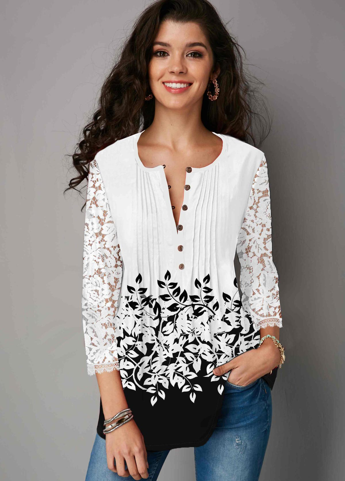 Three Quarter Sleeve Lace Panel Button Up Blouse