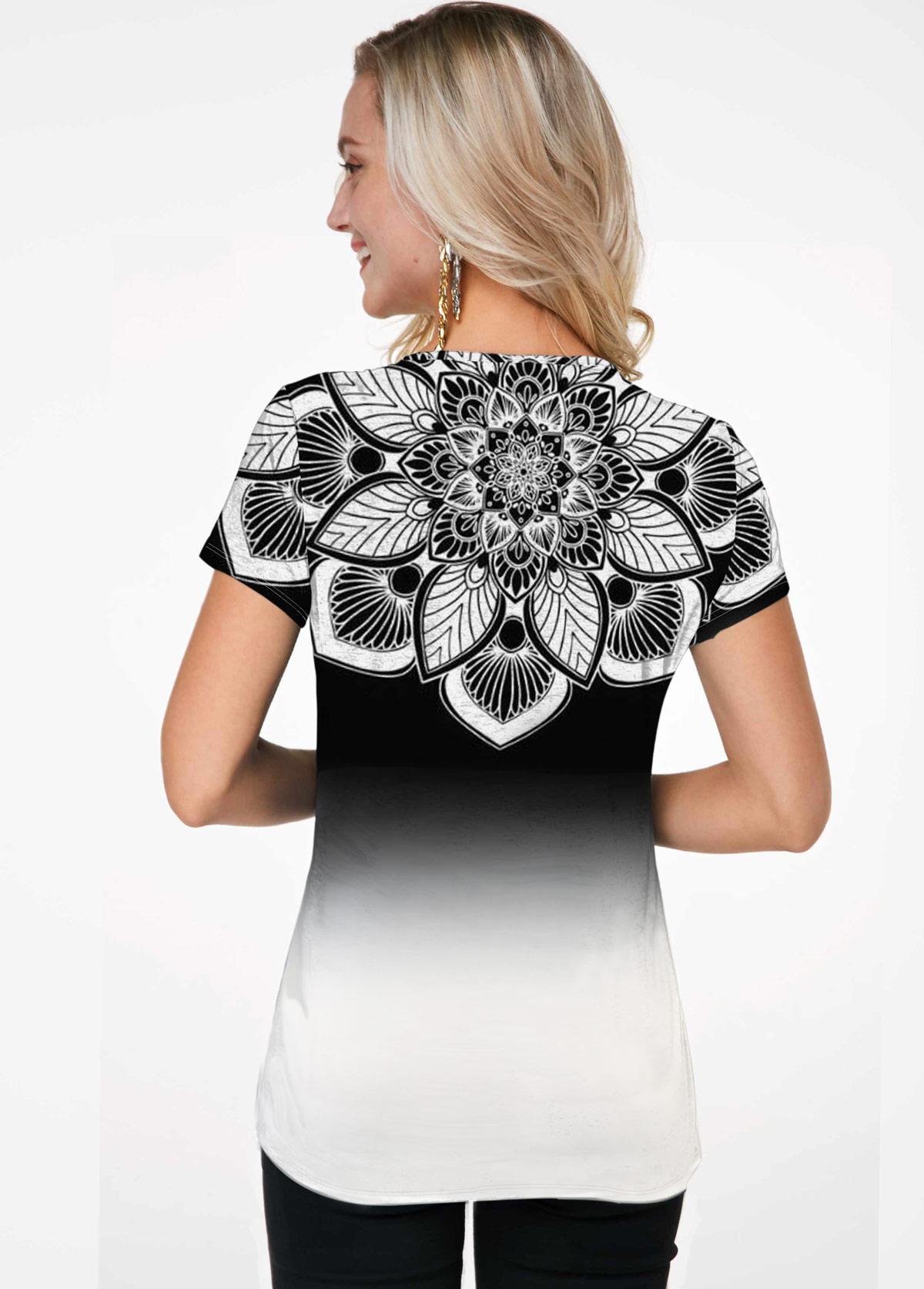 Short Sleeve Gradient Flower Print T Shirt