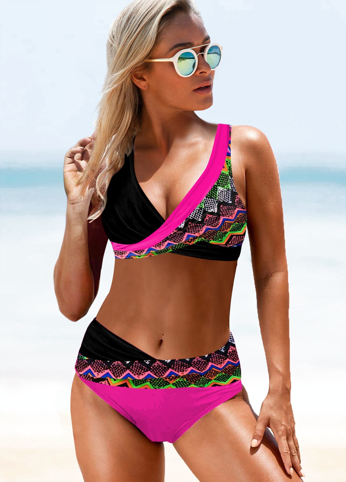 V Neck Tribal Print Wide Strap Bikini Set