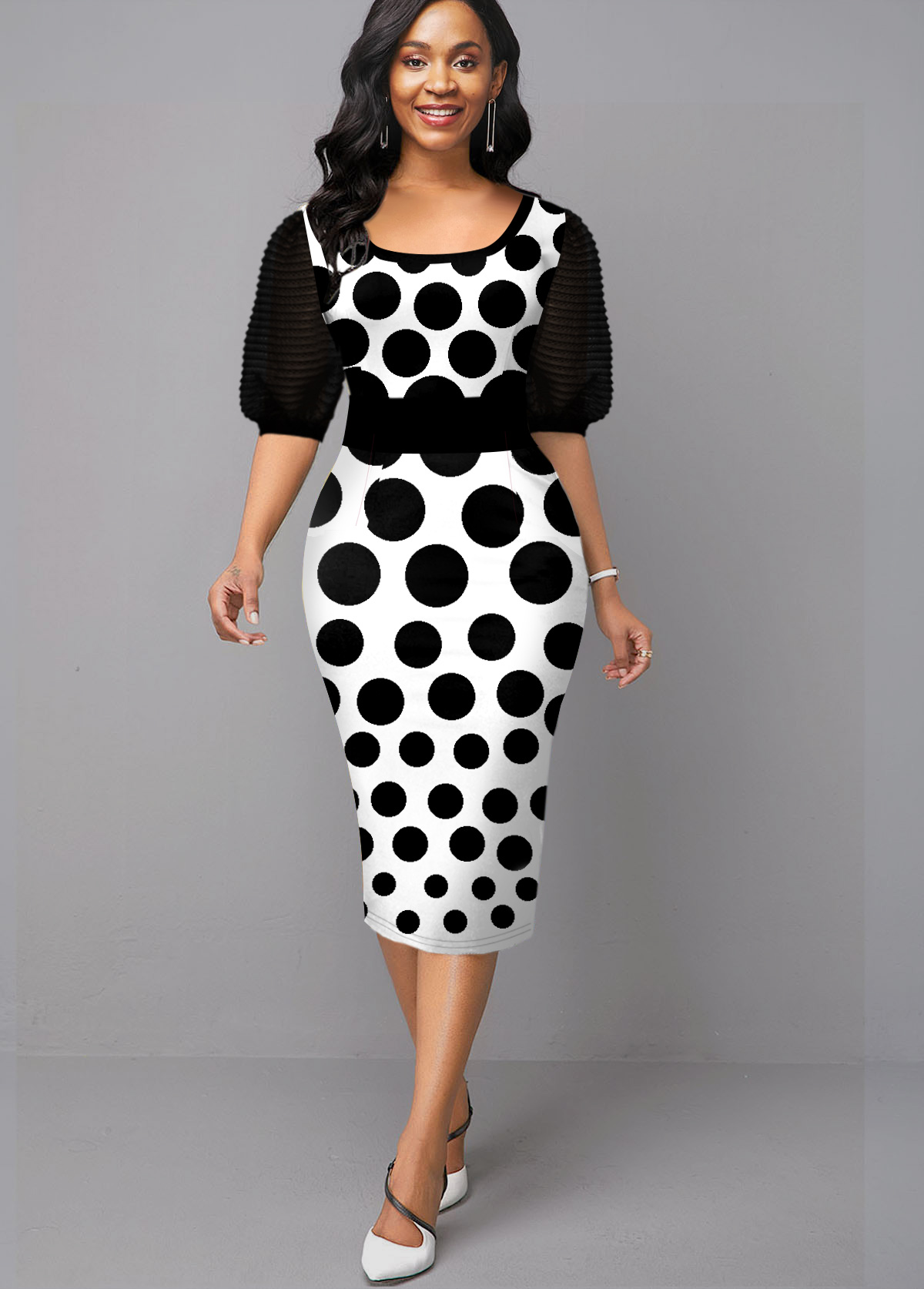 Polka Dot Print Half Sleeve Black Dress