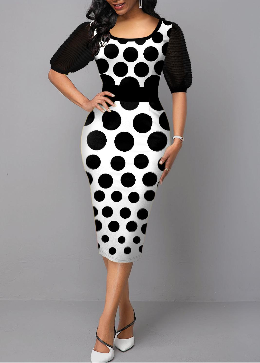 Polka Dot Print Half Sleeve Black Dress