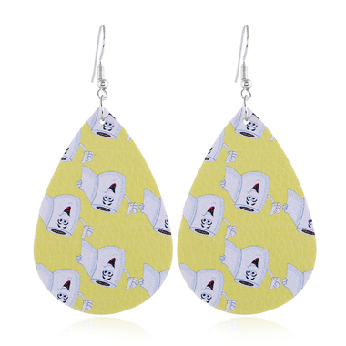 Drop Shape Printed Yellow Earrings