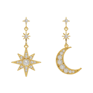 Gold Brown Moon and Star Shape Earrings